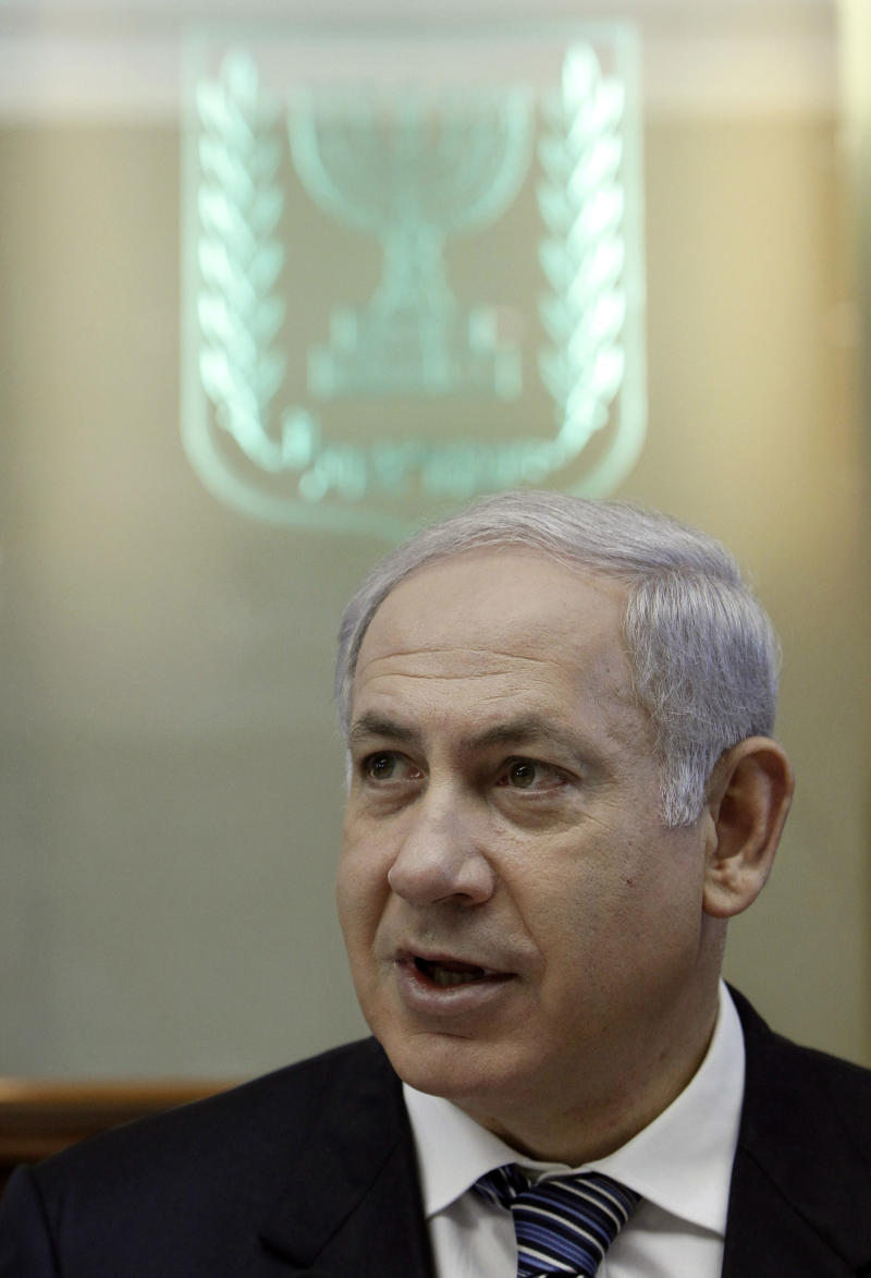 Israeli Prime Minister Benjamin Netanyahu attends the weekly cabinet meeting in Jerusalem, Monday Oct. 4, 2010. (AP Photo/Ammar Awad , Pool)