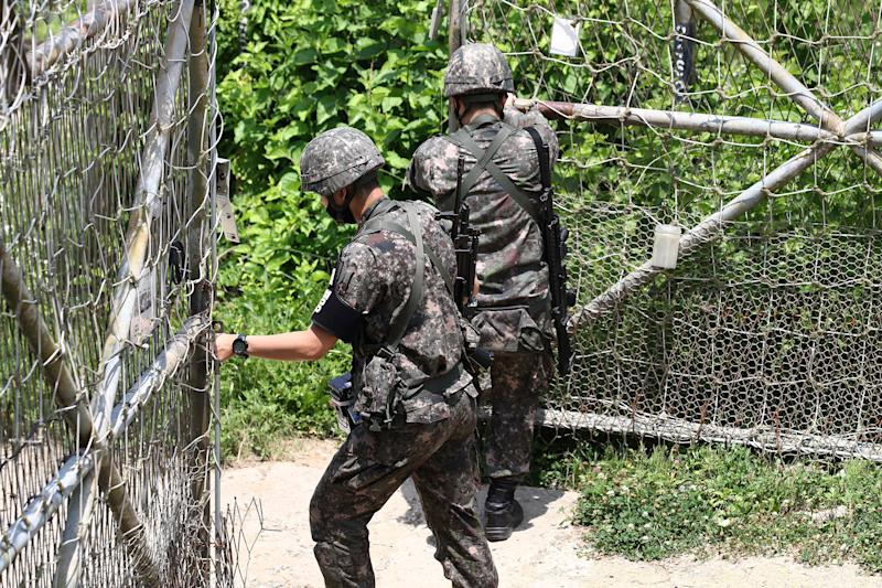Image: South Korean soldiers patrol at Imjingak, near the demilitarized zone (DMZ) on June 16, 2020 in Paju, South Korea. (Chung Sung-Jun / Getty Images)