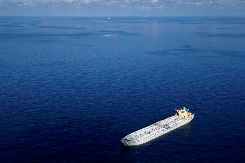 FILE PHOTO: The oil tanker Karvounis lies at anchor stranded off the coast of Louisiana