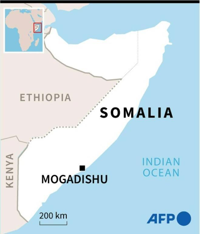 Map of Somalia locating the capital Mogadishu