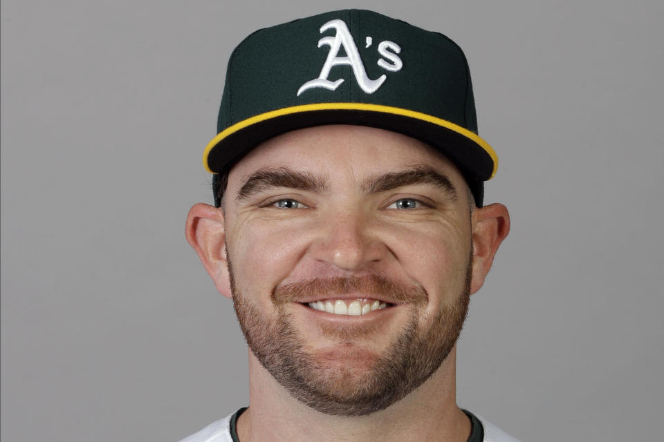 FILE - This is a 2020 file photo showing Liam Hendriks of the Oakland Athletics baseball team. The Chicago White Sox have finalized a $54 million, three-year deal with Oakland Athletics closer Liam Hendriks, another big move as they set their sights on a championship run. The deal was announced Friday, Jan. 15, 2021. (AP Photo/Darron Cummings, File)