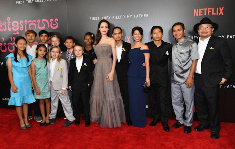 Angelina also posed at the event with her children and the cast of the film. Source: Getty