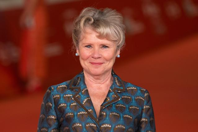 """Imelda Staunton during the red carpet for the movie """"Downton Abbey"""" for the third day of the Rome Film Fest. (Photo by Matteo Nardone/Pacific Press/LightRocket via Getty Images)"""