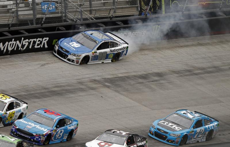 Dale Earnhardt Jr.(88) hits the wall as cars get past him during a NASCAR Monster Energy NASCAR Cup Series auto race, Monday, April 24, 2017, in Bristol, Tenn. (AP Photo/Wade Payne)