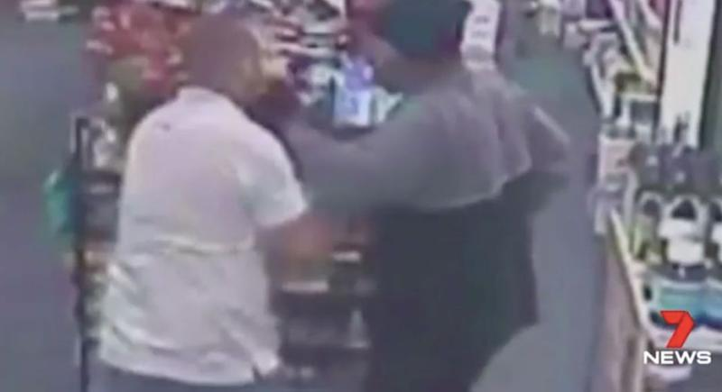 The pharmacist is struck in the face with the screwdriver. Source: 7 News