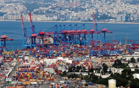 A view of containers at Beirut's port