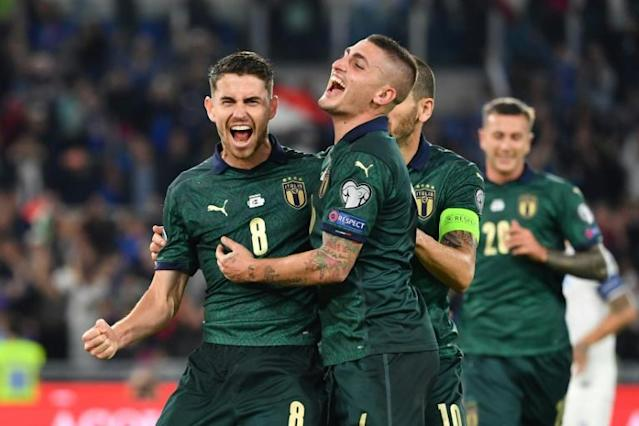 Jorginho's penalty at the Stadio Olimpico helped secure Italy's place at the finals of Euro 2020 (AFP Photo/Alberto PIZZOLI)