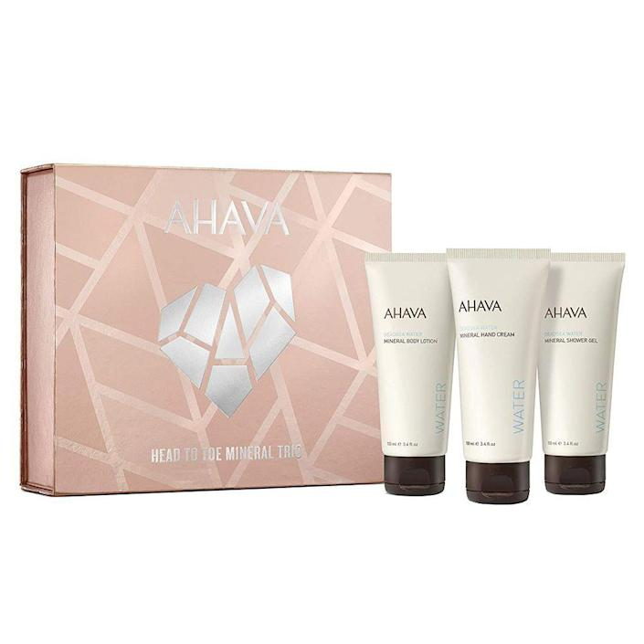 """<p><strong>AHAVA</strong></p><p>amazon.com</p><p><strong>$21.00</strong></p><p><a href=""""https://www.amazon.com/dp/B08DGN8CYJ?tag=syn-yahoo-20&ascsubtag=%5Bartid%7C2089.g.256%5Bsrc%7Cyahoo-us"""" rel=""""nofollow noopener"""" target=""""_blank"""" data-ylk=""""slk:Shop Now"""" class=""""link rapid-noclick-resp"""">Shop Now</a></p><p>The category is: Minerals! This body care set includes a trio of Dead Sea mineral-infused products that nourish, quench, and rejuvenate your skin from the neck down. <br><br>This adorable kit includes mini sizes of AHAVA's cult-favorite products like the Mineral Hand Cream, Mineral Body Lotion, and Mineral Shower Gel.</p>"""
