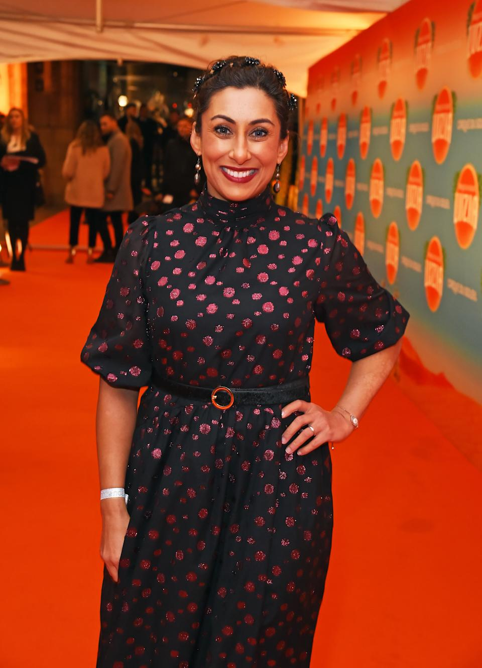 """LONDON, ENGLAND - JANUARY 15: Saira Khan arrives at the gala performance of Cirque De Soleil's """"LUIZA"""" at The Royal Albert Hall on January 15, 2020 in London, England. (Photo by David M. Benett/Dave Benett/Getty Images)"""
