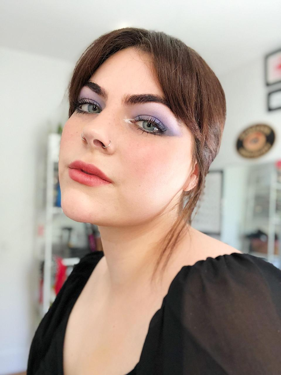Staff writer Nicola Dall'Asen Wears Urban Decay x Prince Let's Go Crazy Eye Shadow Palette, Kajal Eyeliners, and Liquid Highlighter.