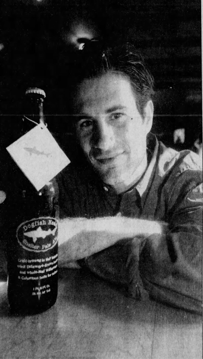 Sam Calagione with a Shelter Pale Ale in an August 23, 1996 clipping of The News Journal
