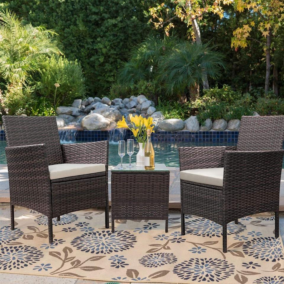 """This comes with cozy sponge-filled seats for comfort *and* removable covers you can easily pop off for cleaning.<br /><br /><strong>Promising review:</strong>""""I purchased this patio set to create an outdoor living space on my front porch. My husband assembled the set in a few hours, and it was ready to be enjoyed.<strong>The furniture looks classy, is sturdy, and is quite comfortable. We are thoroughly pleased with the outcome! The little table also has a glass top which gives the set a more expensive feel.</strong>I dressed up the set with pillows, pants, coasters, and candles."""" —<a href=""""https://amzn.to/3eikC2w"""" target=""""_blank"""" rel=""""nofollow noopener noreferrer"""" data-skimlinks-tracking=""""5580838"""" data-vars-affiliate=""""Amazon"""" data-vars-href=""""https://www.amazon.com/gp/customer-reviews/R2YQP3ZVXGU66A?tag=bfgenevieve-20&ascsubtag=5580838%2C5%2C33%2Cmobile_web%2C0%2C0%2C1159970"""" data-vars-keywords=""""cleaning"""" data-vars-link-id=""""1159970"""" data-vars-price="""""""" data-vars-product-id=""""16176760"""" data-vars-retailers=""""Amazon"""">Amazon Customer</a><br /><br /><strong>Get it from Amazon for <a href=""""https://amzn.to/32C2Z8y"""" target=""""_blank"""" rel=""""noopener noreferrer"""">$124.99+</a> (available in four colors).</strong>"""