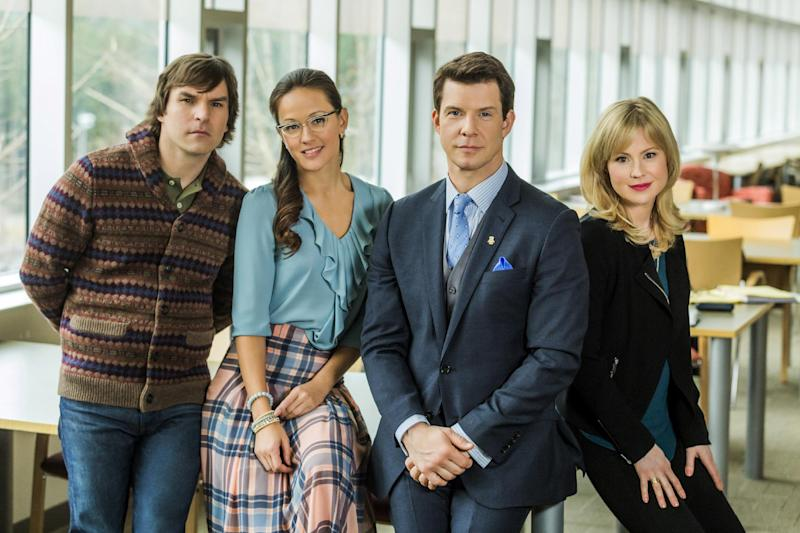 "This photo provided by Hallmark Channel shows, from left, Geoff Gustafson (""Norman Dorman""), Crystal Lowe (""Rita Haywith""), Eric Mabius (""Oliver O'Toole) and Kristin Booth (""Shane McInerny""), on the set of the TV series, ""Signed, Sealed, Delivered."" The writer-producer Martha Williamson, who produced ""Touched by an Angel,"" returns to TV with the new Hallmark Channel show, debuting Sunday, April 20, 2014. (AP Photo/Hallmark Channel, Katie Yu) **MANDATORY CREDIT**"