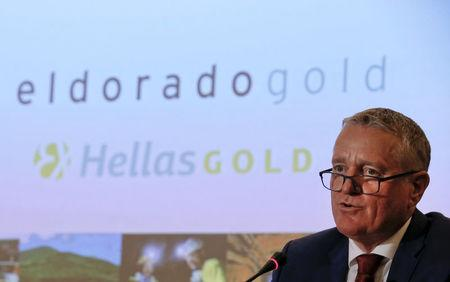 President and CEO of Canadian Eldorado Gold Corporation Burns addresses journalists during a news conference in Athens