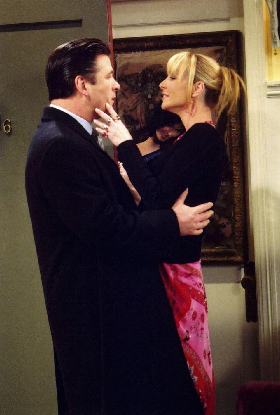 """<p>Alec Baldwin appeared in two episodes of the series as Parker, Pheobe's overly enthusiastic boyfriend <a href=""""https://www.youtube.com/watch?v=0xFrBfeKJoo"""" rel=""""nofollow noopener"""" target=""""_blank"""" data-ylk=""""slk:whose fascination with Massapequa"""" class=""""link rapid-noclick-resp"""">whose fascination with Massapequa</a><span>irritates everyone.</span></p>"""