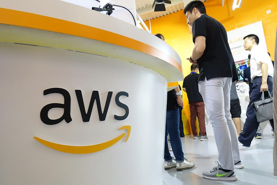 --FILE--People visit the stand of Amazon during an expo in Shanghai, China, 18 September 2018. Amazon's cloud service platform, Amazon Web Services, announced China Express Airlines, China's first privately owned airline specializing in regional air passenger and cargo transportation, has selected AWS China (Ningxia) Region, operated by Ningxia Western Cloud Data Technology Co Ltd, to provide its cloud infrastructure. (Photo by dycj - Imaginechina/Sipa USA)