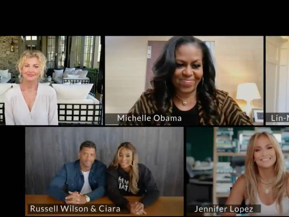 <p>Michelle Obama urges Lin-Manuel Miranda, Jennifer Lopez, Faith Hill, and more to 'help spread the word' about Covid vaccines</p> (NBC / ATTN:)