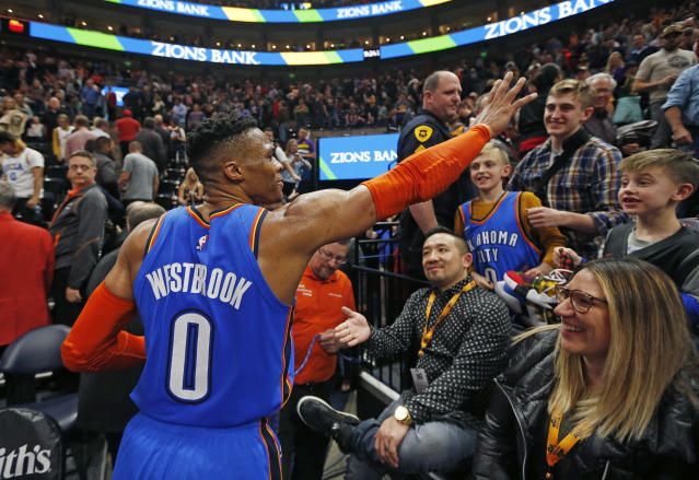 Thunder guard Russell Westbrook waves to the crowd as he leaves the court Monday in Salt Lake City. (AP)