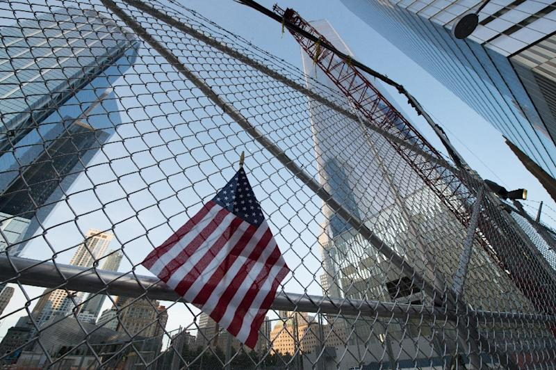 A makeshift memorial lines the fence on the 16th anniversary of the attacks at the World Trade Center on September 11, 2017 in New York