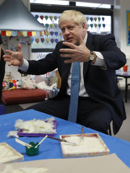 Britain's Prime Minister Boris Johnson gestures as he participates in an art class at St Mary's and All Saints Primary School in Beaconsfield, England, Friday, Oct. 11, 2019. (AP Photo/Alastair Grant, Pool)