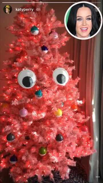 <p>Katy Perry <i>would</i> be the one to have a fun and goofy Xmas tree. Orlando Bloom's lady love shared a shot of her red, creature-like tree on Snapchat. </p>
