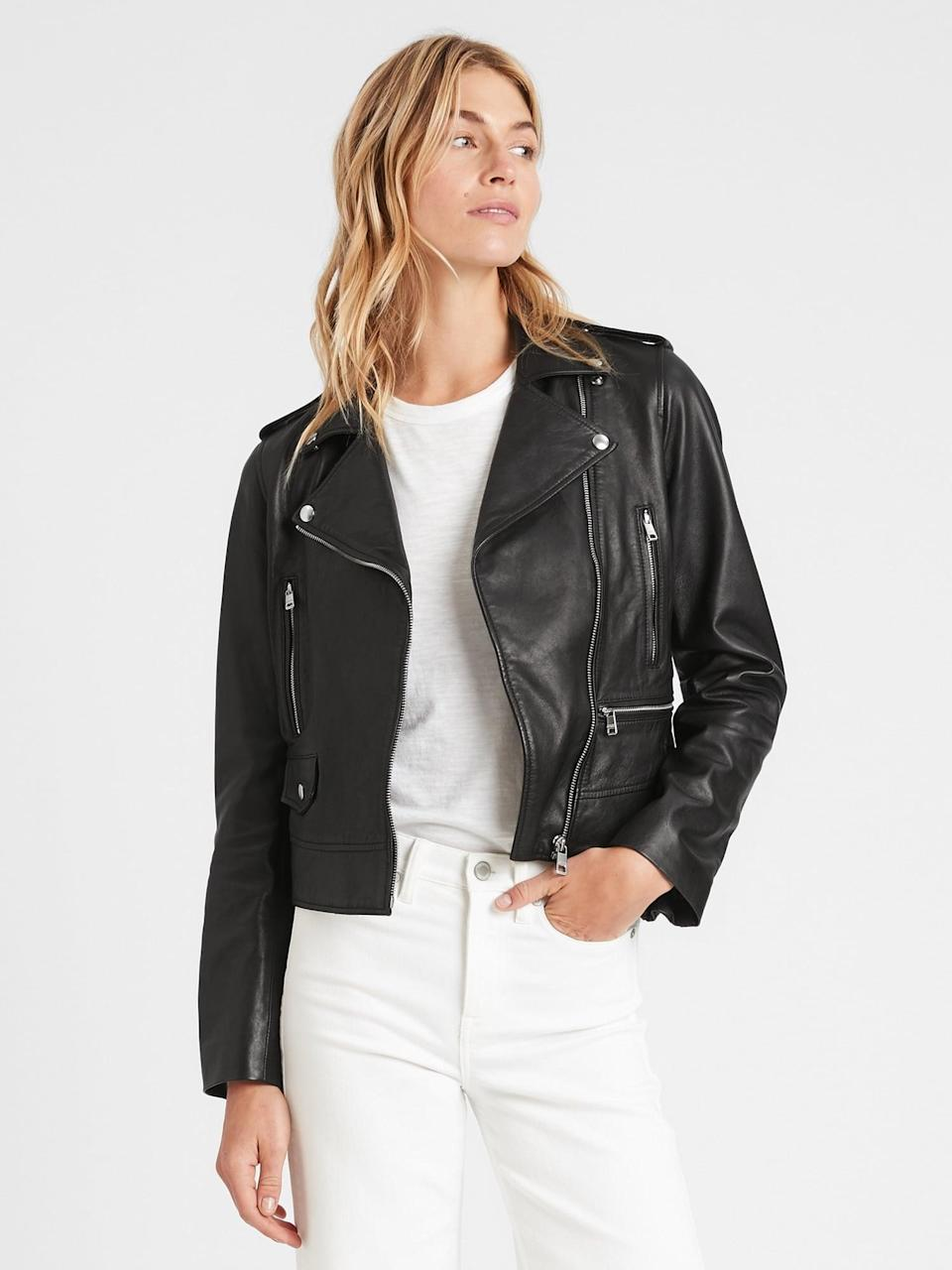 <p>This <span>Banana Republic Classic Leather Moto Jacket</span> ($399, originally $499) is amazing quality, so it will last for years.</p>