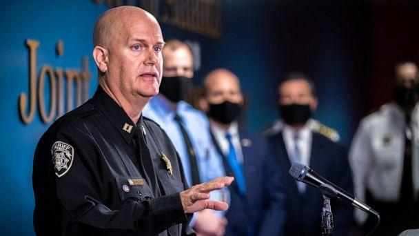 PHOTO: Captain Jay Baker, of the Cherokee County Sheriff's Office, speaks to the news media during a briefing at the Atlanta Public Safety Headquarters in Atlanta, March 17, 2021. (Matt Burkhartt/USA Today Network via Reuters)