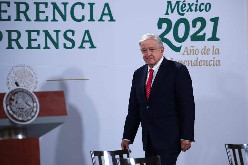 Mexico's President Andres Manuel Lopez Obrador attends a news conference where he announced that he sent his well wishes to President-elect Joe Biden ahead of Biden's inauguration later in the day, at the National Palace in Mexico City
