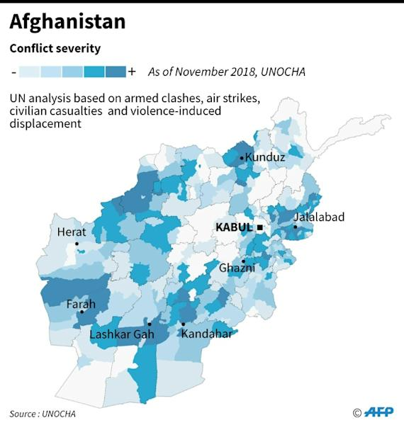 Map showing conflict intensity in Afghanistan (AFP Photo/John SAEKI)