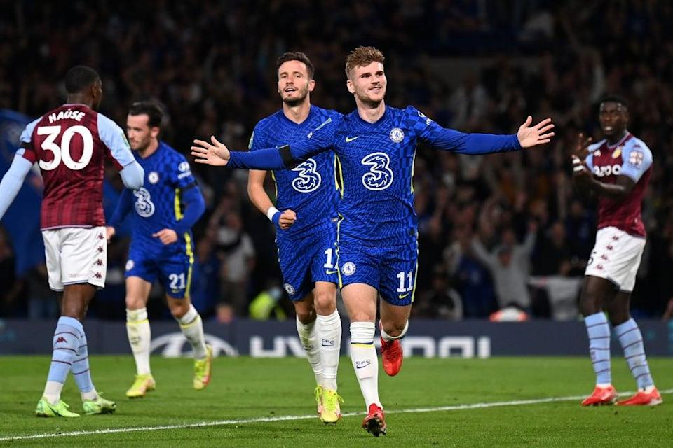 Timo Werner was back on the Chelsea scoresheet against Aston Villa  (Chelsea FC via Getty Images)