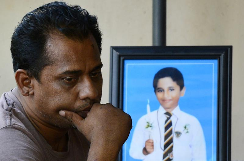 Ranjeewa Silva's 12-year-old son died in the Easter Sunday attacks (AFP Photo/LAKRUWAN WANNIARACHCHI)