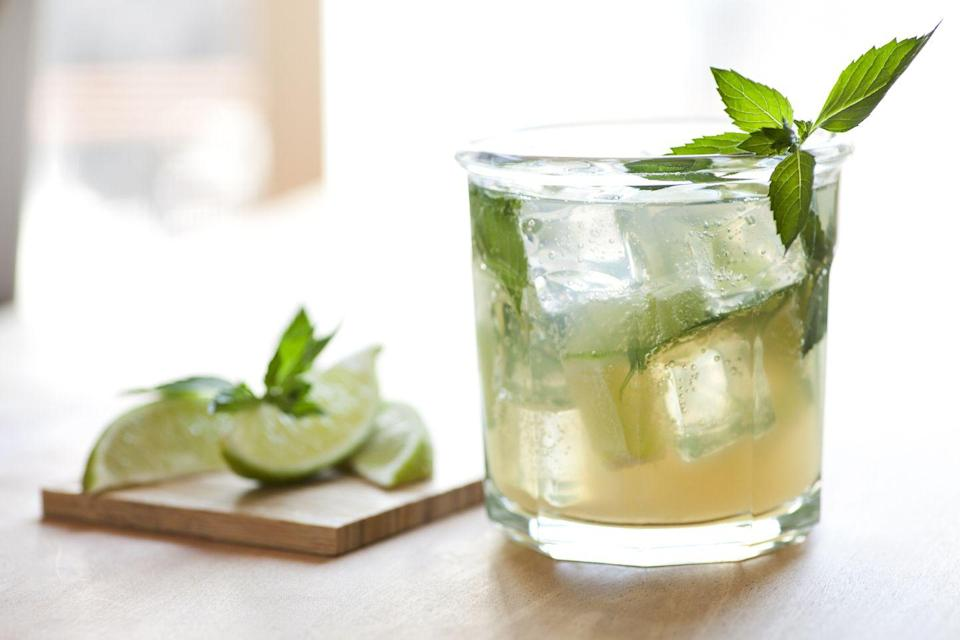 """<p>Lime, mint, soda, and vodka make this a perfect drink for patio weather. <a href=""""http://ketogasm.com/low-carb-vodka-mojito-recipe/"""" rel=""""nofollow noopener"""" target=""""_blank"""" data-ylk=""""slk:This recipe"""" class=""""link rapid-noclick-resp"""">This recipe</a> swaps rum for vodka, making it even lighter on the calories.</p>"""