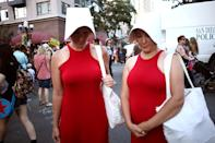 <p>Cosplayers dressed as Handmaids (in summer wear) at Comic-Con International on July 19, 2018, in San Diego. (Photo: Tommaso Boddi/Getty Images) </p>