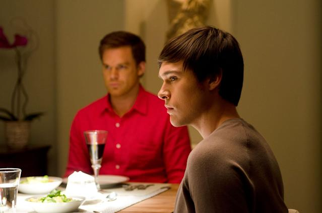 "Michael C. Hall as Dexter Morgan and Sam Underwood as Zach Hamilton in the ""Dexter"" Season 8 episode, ""Are We There Yet?"""