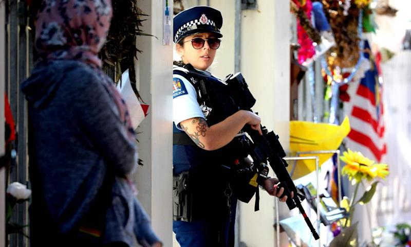 Armed police guard Al Noor mosque in the wake of the Christchurch attack.
