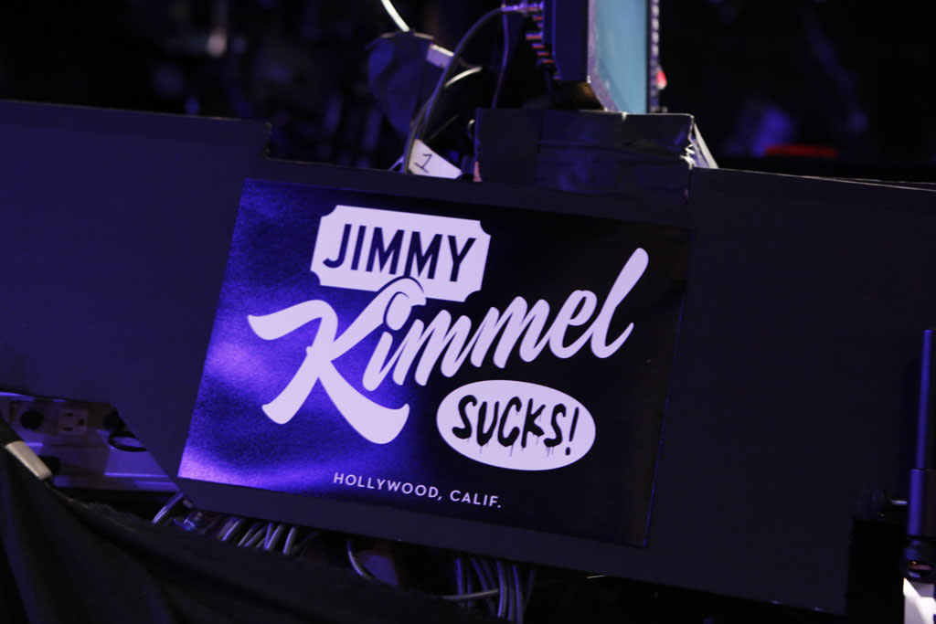 """JIMMY KIMMEL LIVE -On Thursday January 24th, Oscar winner Matt Damon exacted his revenge following a decade of torture by hijacking Kimmel's late night show and renaming it """"Jimmy Kimmel Sucks."""" Damon showed Kimmel how it's done by packing his one-evening-only late night turn with comedy and a cavalcade of A-list stars. Damon replaced Kimmel's longtime sidekick Guillermo with legendary actor Andy Garcia, his best childhood friend and bandleader Cleto with multi-Grammy winner Sheryl Crow, and packed his couch with such Hollywood notables as Nicole Kidman, Gary Oldman, Amy Adams, Reese Witherspoon and Demi Moore. Plus special guest appearances by comedians Robin Williams and Sarah Silverman. Even Ben Affleck stopped by to participate in the big night, though his allegiance was torn between childhood friend Damon and former paramour Kimmel. """"Jimmy Kimmel Live!"""" airs weeknights at 11:35/10:35c on ABC. (ABC/RANDY HOLMES)PRODUCTION SET"""