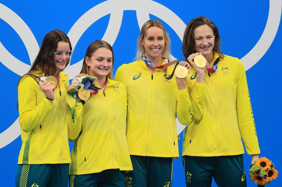 Seen here, Australia's women celebrate their gold in the 4x100m medley relay at the Olympics.