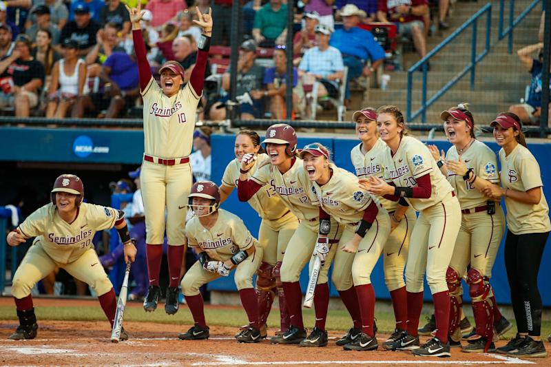 Florida State softball sets NCAA tournament record with four consecutive home runs. (Photo by Shane Bevel/NCAA Photos via Getty Images)
