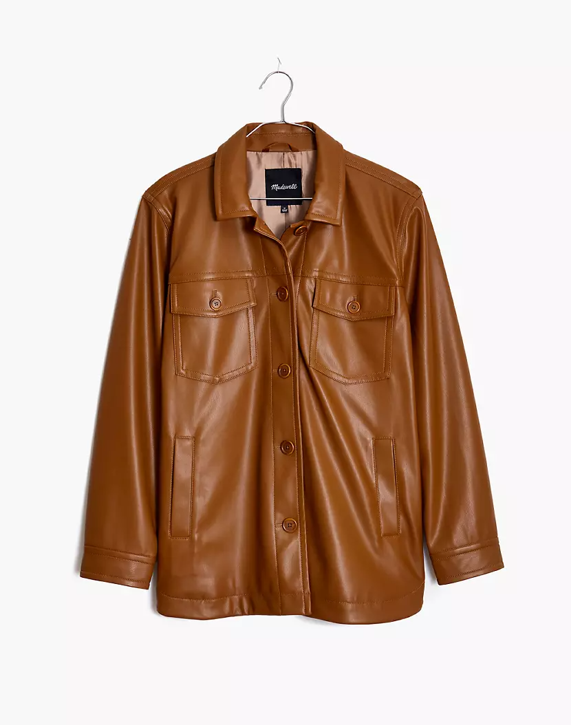 "<br><br><strong>Madewell</strong> Vegan Leather Chore Jacket, $, available at <a href=""https://go.skimresources.com/?id=30283X879131&url=https%3A%2F%2Fwww.madewell.com%2Fvegan-leather-chore-jacket-MA277.html"" rel=""nofollow noopener"" target=""_blank"" data-ylk=""slk:Madewell"" class=""link rapid-noclick-resp"">Madewell</a>"