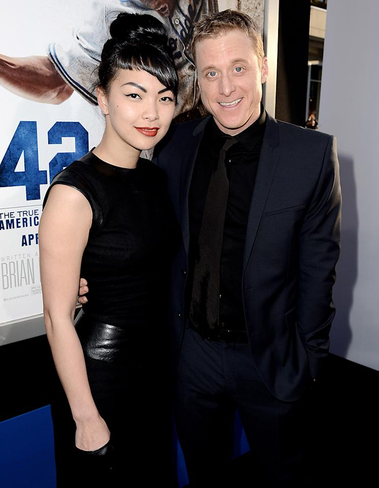 """LOS ANGELES, CA - APRIL 09:  Actor Alan Tudyk (R) arrives at the premiere of Warner Bros. Pictures' and Legendary Pictures' """"42"""" at the Chinese Theatre on April 9, 2013 in Los Angeles, California.  (Photo by Kevin Winter/Getty Images)"""