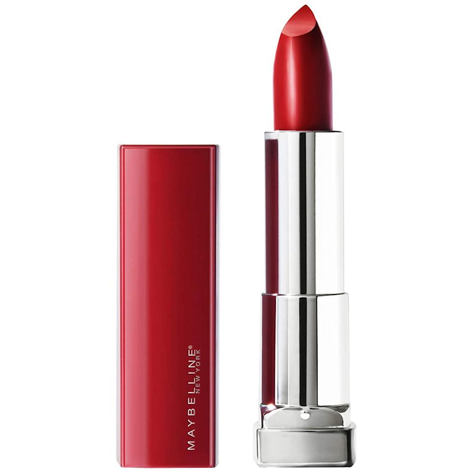 """<p>Maybelline New York's Color Sensational Made for All Lipstick in Ruby for Me, our 2020 <a href=""""https://www.allure.com/gallery/best-of-beauty-lip-product-winners?mbid=synd_yahoo_rss"""" rel=""""nofollow noopener"""" target=""""_blank"""" data-ylk=""""slk:Best of Beauty winner"""" class=""""link rapid-noclick-resp"""">Best of Beauty winner</a>, is a blue-toned red that has a satin finish that looks absolutely stunning on any complexion. And if our seal of approval isn't enough, take it from our audience — it won an <em>Allure</em> <a href=""""https://www.allure.com/gallery/readers-choice-breakthrough-winners?mbid=synd_yahoo_rss"""" rel=""""nofollow noopener"""" target=""""_blank"""" data-ylk=""""slk:Readers' Choice Award"""" class=""""link rapid-noclick-resp"""">Readers' Choice Award</a> this year, too. </p> <p><strong>$6</strong> (<a href=""""https://www.amazon.com/Maybelline-New-York-Sensational-Lipstick/dp/B07GZXCQQL/ref=as_li_ss_tl?ie=UTF8&linkCode=sl1&tag=allure0c3-20&linkId=5423432e0705d80314001f7f461906d2&language=en_US"""" rel=""""nofollow noopener"""" target=""""_blank"""" data-ylk=""""slk:Shop Now"""" class=""""link rapid-noclick-resp"""">Shop Now</a>)</p>"""