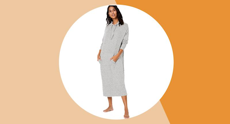 This M&S Cosy Knit Hooded Lounge Dress is the perfect outfit for a night in. (M&S)