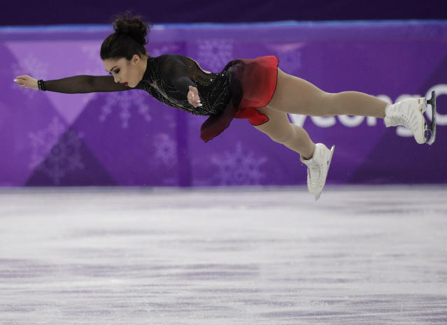 <p>Gabrielle Daleman of Canada performs during the women's short program figure skating in the Gangneung Ice Arena at the 2018 Winter Olympics in Gangneung, South Korea, Wednesday, Feb. 21, 2018. (AP Photo/David J. Phillip) </p>