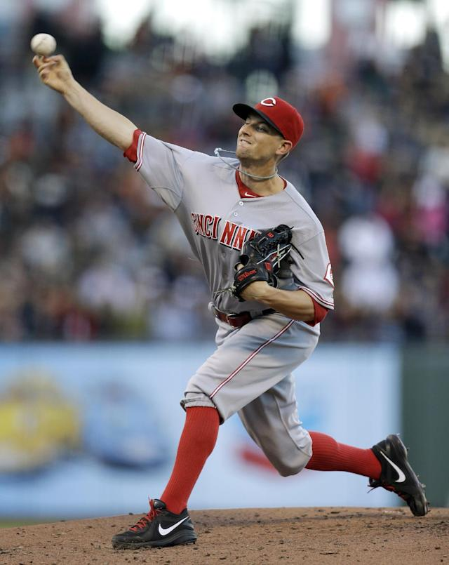 Cincinnati Reds' Mike Leake works against the San Francisco Giants in the first inning of a baseball game Wednesday, July 24, 2013, in San Francisco. (AP Photo/Ben Margot)