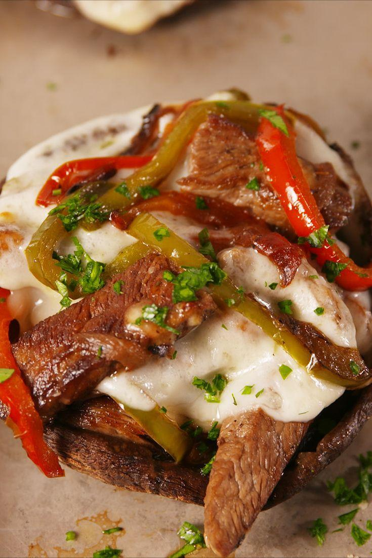 "<p>Forget the bread and use mushrooms.</p><p>Get the recipe from <a href=""https://www.delish.com/cooking/recipe-ideas/recipes/a56444/philly-cheesesteak-stuffed-portobellos-recipe/"" rel=""nofollow noopener"" target=""_blank"" data-ylk=""slk:Delish"" class=""link rapid-noclick-resp"">Delish</a>. </p>"