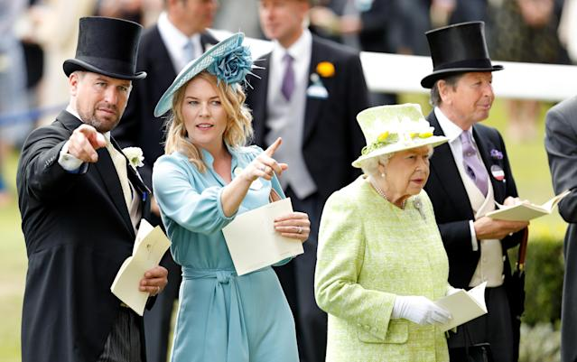 Peter Phillips and Autumn Phillips with the Queen and John Warren at Royal Ascot 2019. (Getty Images)