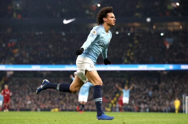 Leroy Sane celebrates scoring City's winner against Liverpool at the Etihad Stadium in January (Martin Rickett/PA)