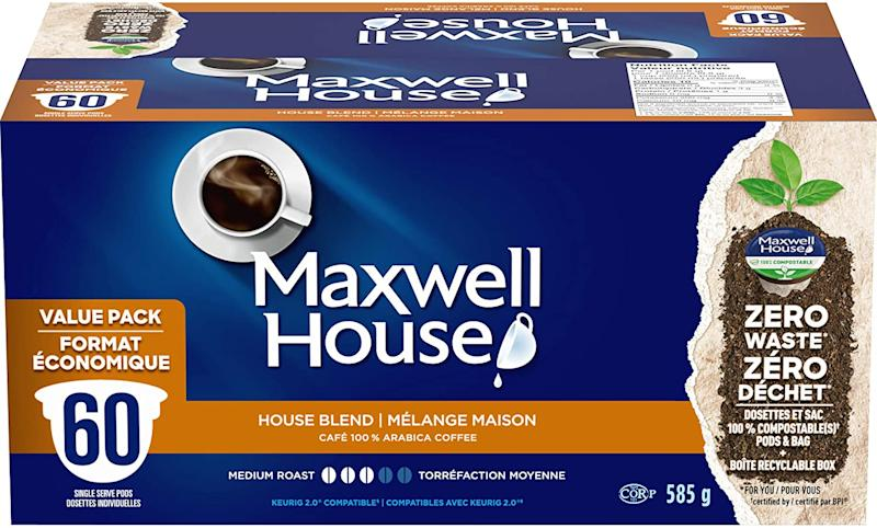 Maxwell House House Blend Coffee 100% Compostable Pods, 60 Pods. (Image via Amazon)