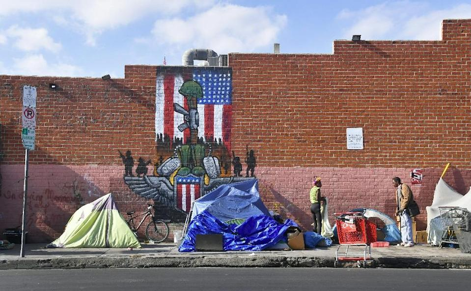 Makeshift tents in November 2017 in Los Angeles, home to one of America's largest homeless populations (AFP Photo/FREDERIC J. BROWN)