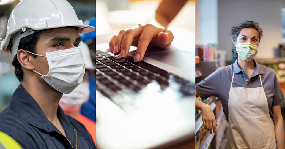 Manufacturing working with a mask, hand on laptop keyboards and grocery worker with mask.